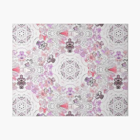 Pink Floral Ties and Circles Design Offering by Green Bee Mee Art Board Print
