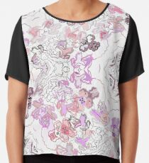 Pink Floral Ties and Circles Design Offering by Green Bee Mee Chiffon Top