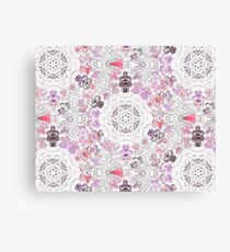 Pink Floral Ties and Circles Design Offering by Green Bee Mee Canvas Print