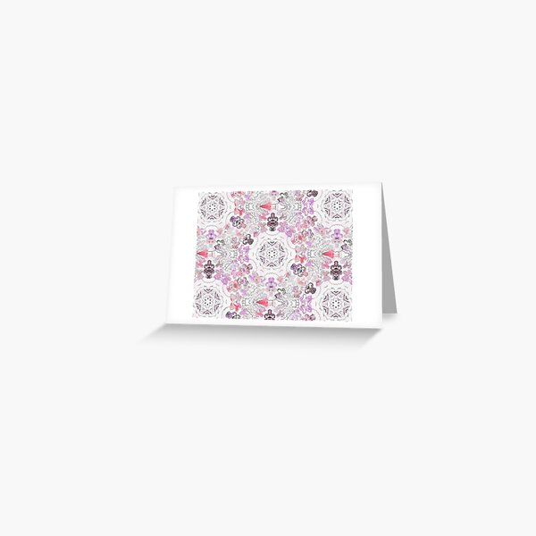 Pink Floral Ties and Circles Design Offering by Green Bee Mee Greeting Card