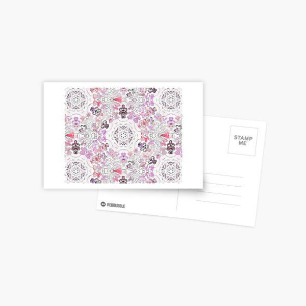 Pink Floral Ties and Circles Design Offering by Green Bee Mee Postcard