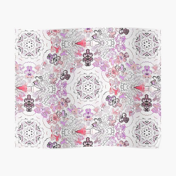 Pink Floral Ties and Circles Design Offering by Green Bee Mee Poster