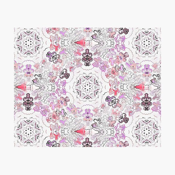 Pink Floral Ties and Circles Design Offering by Green Bee Mee Photographic Print