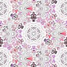 Pink Floral Ties and Circles Design Offering by Green Bee Mee by GreenBeeMee