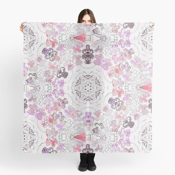 Pink Floral Ties and Circles Design Offering by Green Bee Mee Scarf