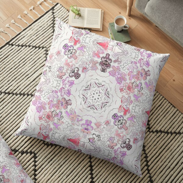 Pink Floral Ties and Circles Design Offering by Green Bee Mee Floor Pillow