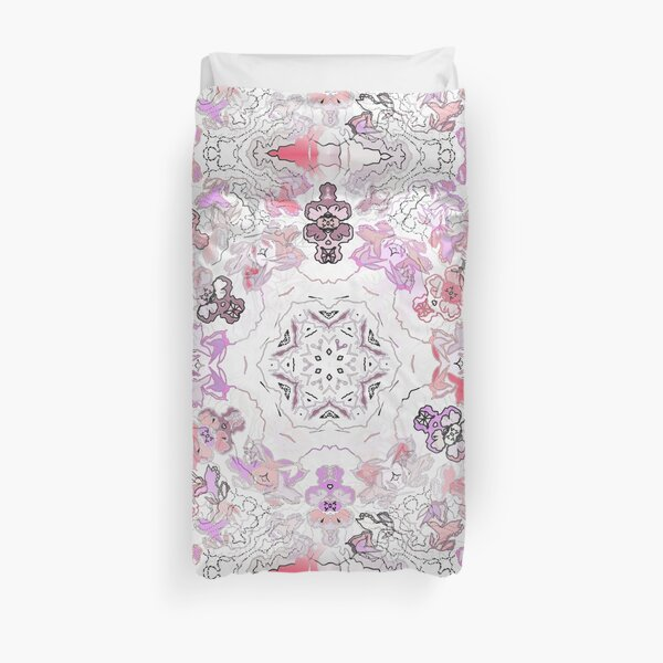 Pink Floral Ties and Circles Design Offering by Green Bee Mee Duvet Cover