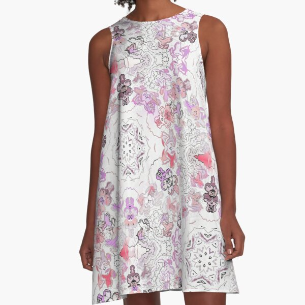 Pink Floral Ties and Circles Design Offering by Green Bee Mee A-Line Dress
