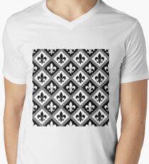 Black Fleur de Lis and Diamond Pattern T-Shirt
