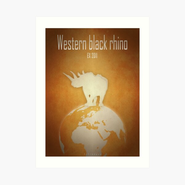 Western black rhinoceros - extinct animals Art Print