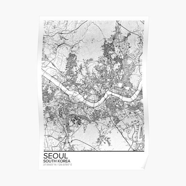 Affiche de carte affiche Séoul carte, Corée du Sud cadeau imprimable, Home and Nursery, décor de carte moderne pour le bureau, Art de la carte, cadeaux de carte Poster