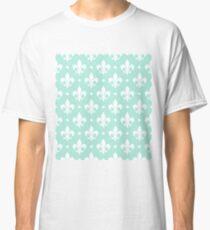 White Fleur de Lis on Mint Background Classic T-Shirt
