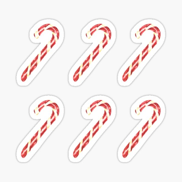 Christmas Watercolor Candy Cane Pattern Sticker