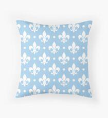 White Fleur de Lis on LightBlue Background Throw Pillow