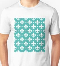 White Fleur de Lis on Teal Background T-Shirt