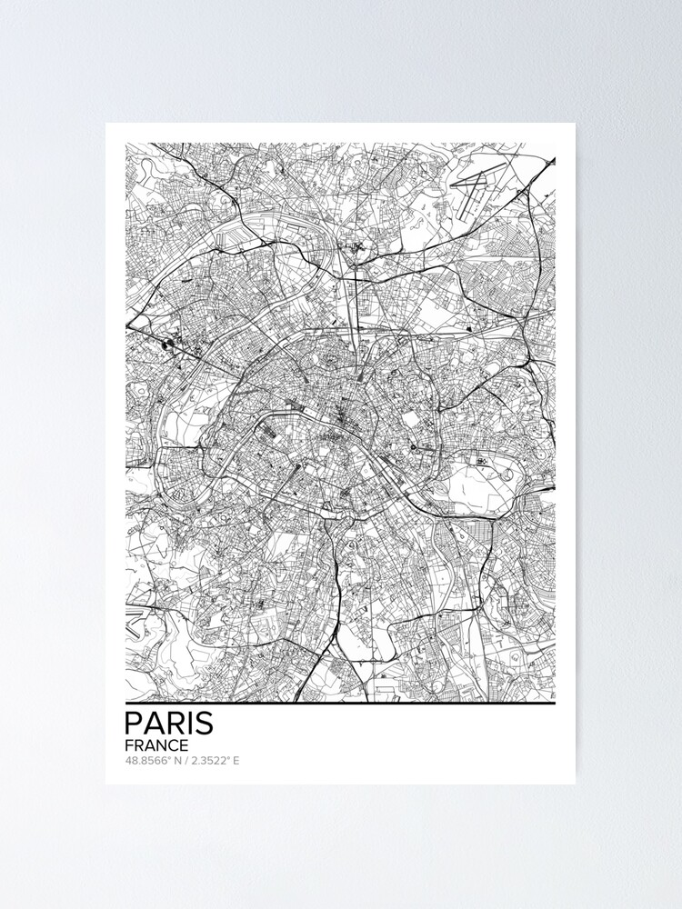 Map of Paris black and white print poster wall art