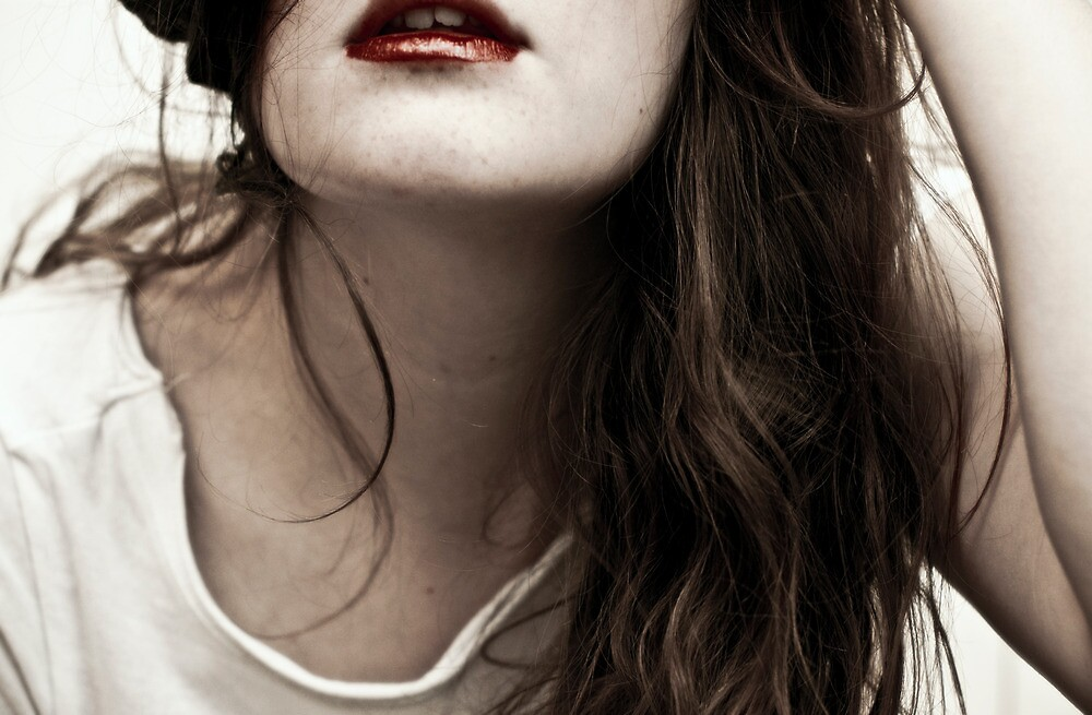 Blood Red Lips. Waterfall Hair. by Victoria Penrose