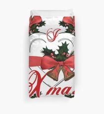 i love xmas christmas bells arrangement with red ribbon Duvet Cover