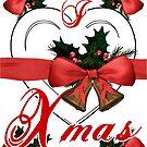 Ich liebe Weihnachtsweihnachtsglockenanordnung mit rotem Band von cglightNing