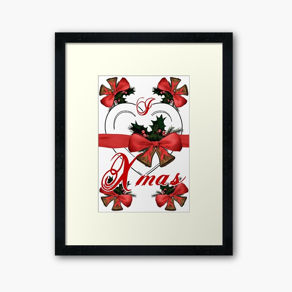 Ich liebe Weihnachtsweihnachtsglockenanordnung mit rotem Band Gerahmter Kunstdruck