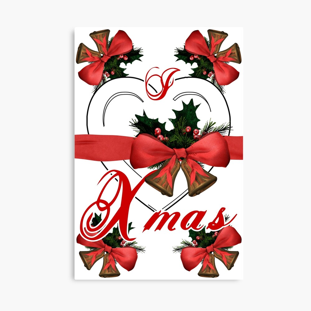 Ich liebe Weihnachtsweihnachtsglockenanordnung mit rotem Band Leinwanddruck