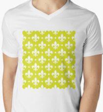 White Fleur de Lis on Chartreuse Background T-Shirt