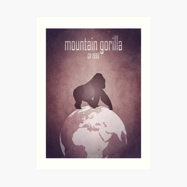Mountain gorilla - endangered animals Art Print