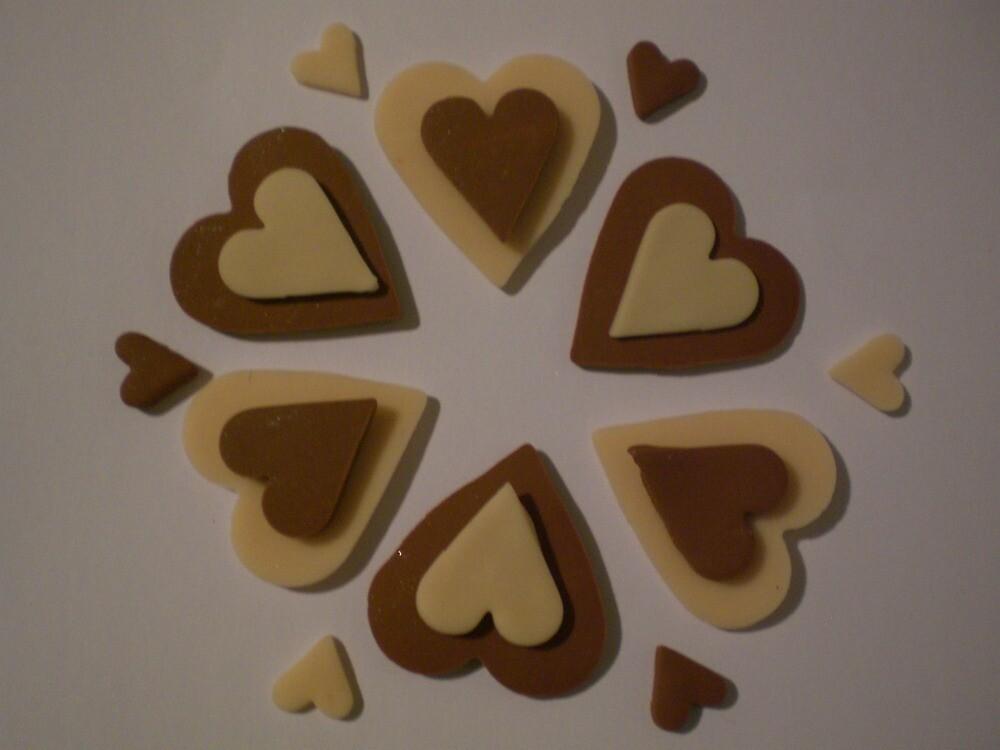 Chocolate Brown and Cream Love Hearts by Jadavision