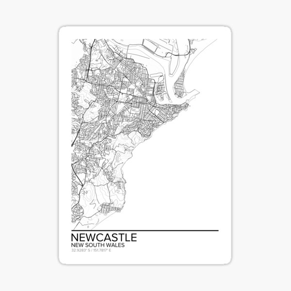 Newcastle map poster print wall art, New South Wales gift printable, Home and Nursery, Modern map decor for office, Map Art, Map Gifts Sticker