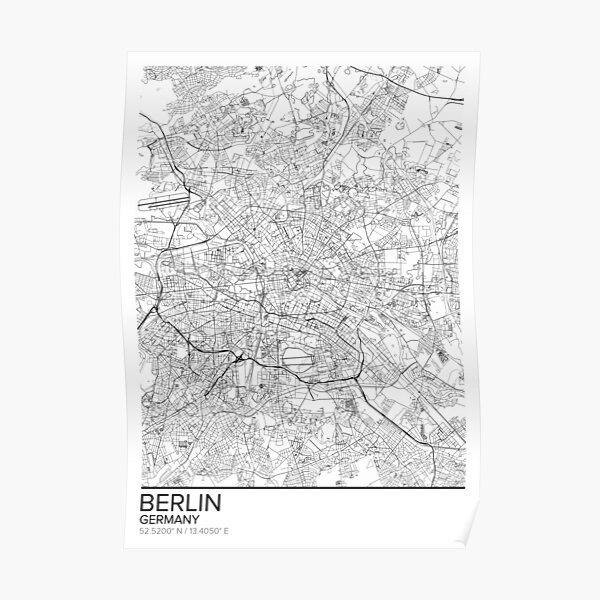Berlin map poster print wall art, Germany gift printable, Home and Nursery, Modern map decor for office, Map Art, Map Gifts Poster