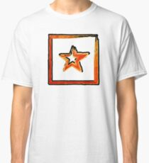 Fire star in red and blue color on a black background. Classic T-Shirt