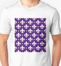 White Fleur de Lis on Purple Background T-Shirt
