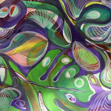 Split Leaf purple and green watercolor by Naquaiya