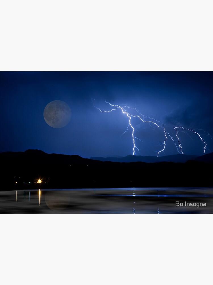Lightning Storm - Full Moon - Misty Lake  by mrbo
