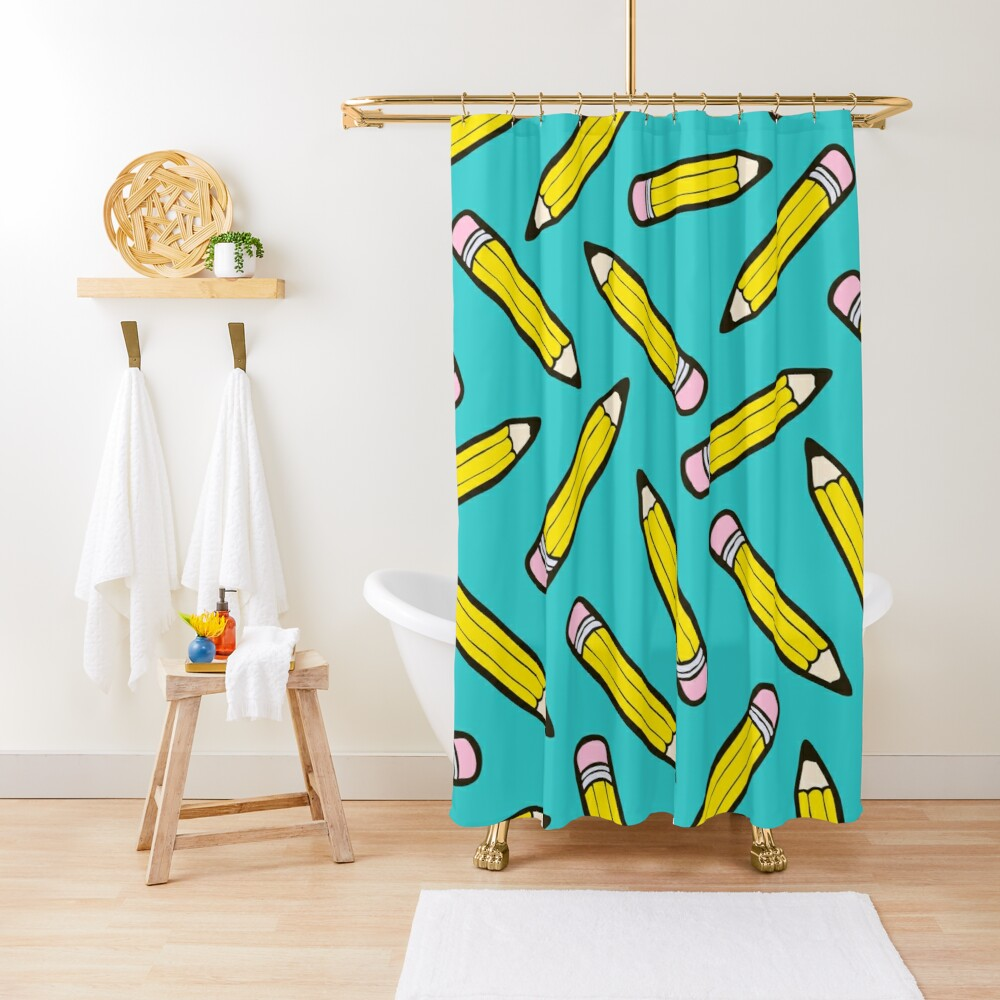 Pencil Power Blue Pattern Shower Curtain