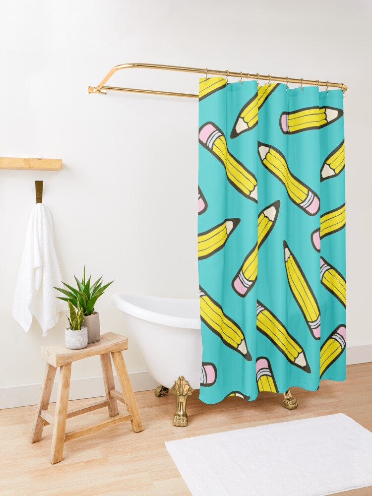 Alternate view of Pencil Power Blue Pattern Shower Curtain