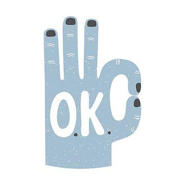 Ok hand agreement vector grunge illustration by nastybo