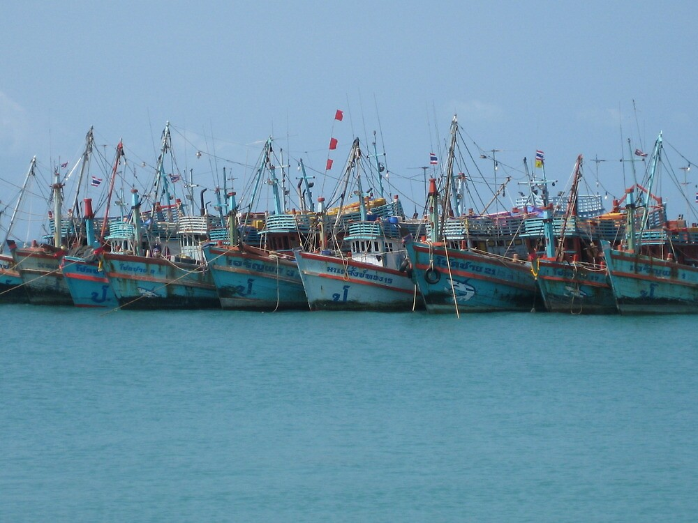 Boats in a Row - Thailand by Ginelle Cooke