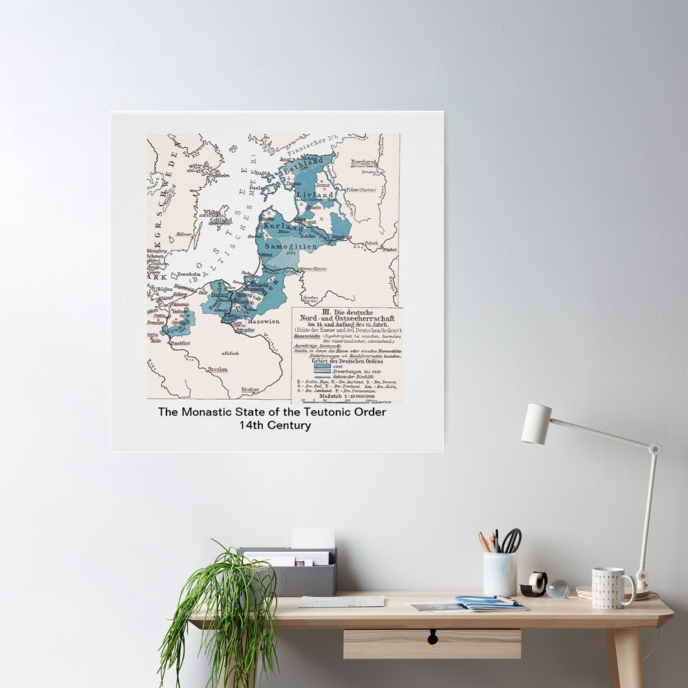 Map.. Monastic State of the Teutonic Order  Poster