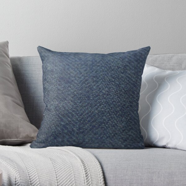 Blue Tweed Throw Pillow