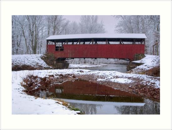 Lairdsville Covered Bridge In Winter by Gene Walls