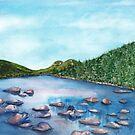 Acadia National Park Watercolor - Bubble Rock & Jordan Pond by Jasanna Czellar