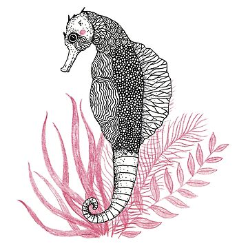 Hand drawn illustration of seahorse black and white by nastybo