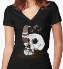 Colonel Pigeonpipe's Skull Women's Fitted V-Neck T-Shirt