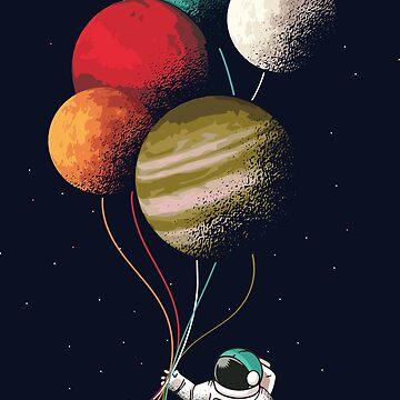 Floating Astronaut Holding Planet Balloons by Mommylife