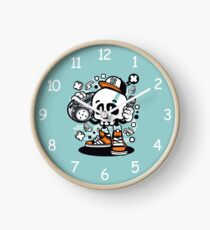 Boombox Skull Cartoon Character - Fun T-shirt - Memories of old-school sounds,  Boombox style, a great gift for those a little crazy! Clock