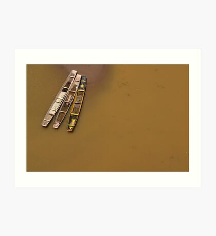 Boats, Nong Khiaw, Laos Art Print