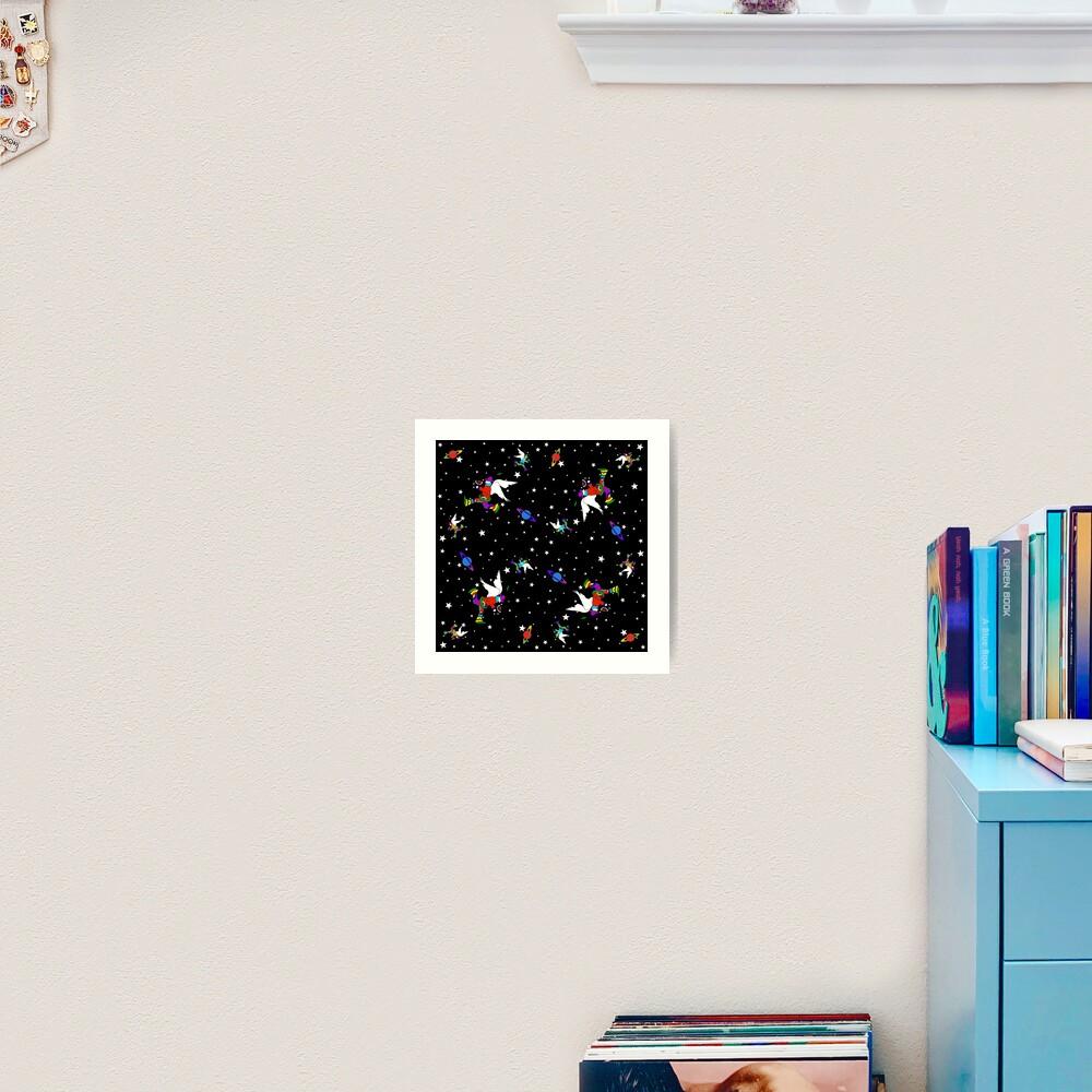 Angel Dudes Starry Night - black Art Print
