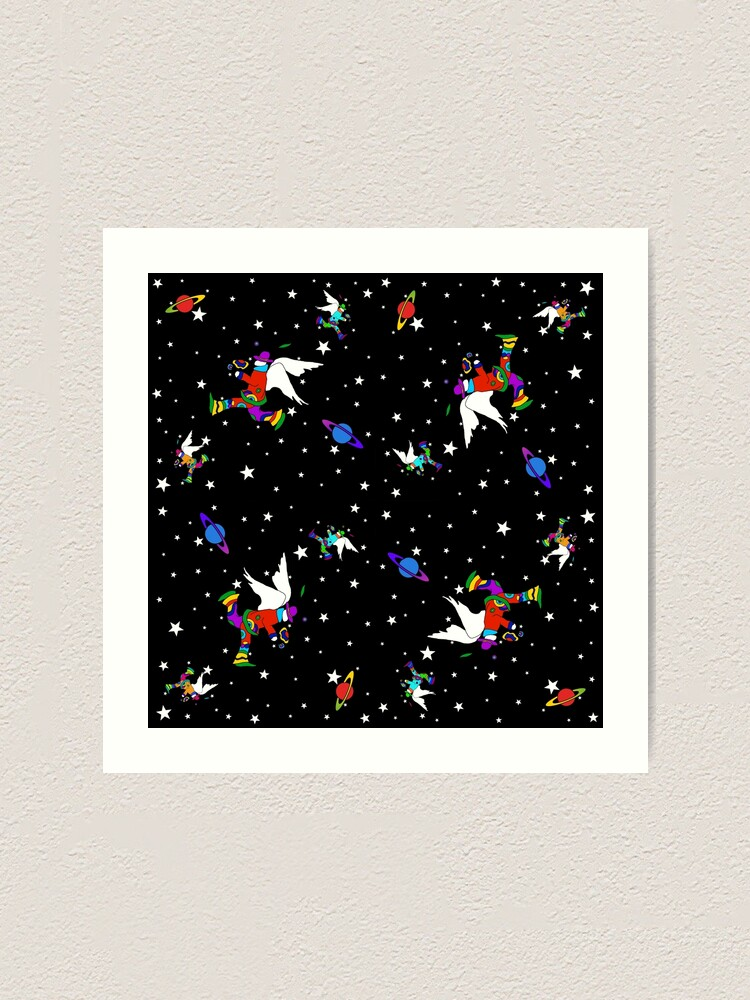 Alternate view of Angel Dudes Starry Night - black Art Print