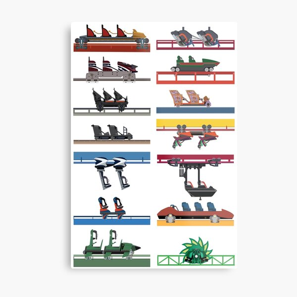 Six Flags Magic Mountain Coaster Cars Design Metal Print